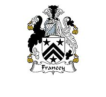 Coat of arms (family crest) for last-name or surname Francey . Heraldry banner for your name. Photographic Print