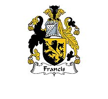 Coat of arms (family crest) for last-name or surname Francis . Heraldry banner for your name. Photographic Print