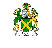 Coat of arms (family crest) for last-name or surname Frank (e) . Heraldry banner for your name. Photographic Print