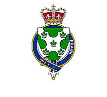 Coat of arms (family crest) for last-name or surname Frank (Scotland) . Heraldry banner for your name. Photographic Print