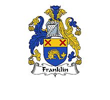Coat of arms (family crest) for last-name or surname Frankland or Franklin . Heraldry banner for your name. Photographic Print