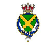 Coat of arms (family crest) for last-name or surname Franks (England) . Heraldry banner for your name. Photographic Print