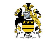 Coat of arms (family crest) for last-name or surname Freke . Heraldry banner for your name. Photographic Print