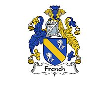 Coat of arms (family crest) for last-name or surname French . Heraldry banner for your name. Photographic Print