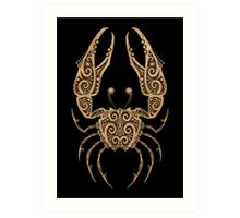 Rustic Cancer Zodiac Sign on Black Art Print