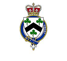 Coat of arms (family crest) for last-name or surname Frost (England) . Heraldry banner for your name. Photographic Print