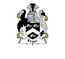 Coat of arms (family crest) for last-name or surname Fryer . Heraldry banner for your name. Photographic Print