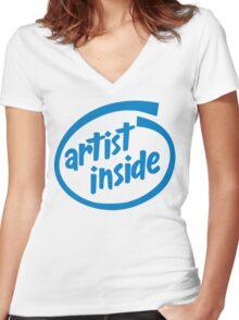 Artist Inside Women's Fitted V-Neck T-Shirt