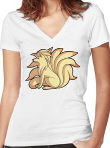 Ninetales Women's Fitted V-Neck T-Shirt