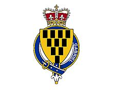 Coat of arms (family crest) for last-name or surname Gabriel (England) . Heraldry banner for your name. Photographic Print
