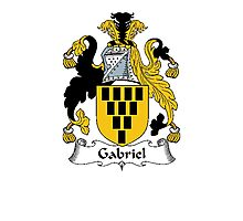 Coat of arms (family crest) for last-name or surname Gabriel . Heraldry banner for your name. Photographic Print