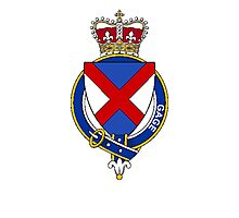 Coat of arms (family crest) for last-name or surname Gage (England) . Heraldry banner for your name. Photographic Print