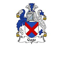 Coat of arms (family crest) for last-name or surname Gage . Heraldry banner for your name. Photographic Print