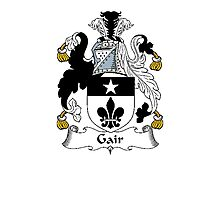 Coat of arms (family crest) for last-name or surname Gair . Heraldry banner for your name. Photographic Print