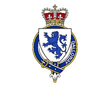 Coat of arms (family crest) for last-name or surname Galloway (Scotland) . Heraldry banner for your name. Photographic Print