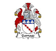 Coat of arms (family crest) for last-name or surname Gamage . Heraldry banner for your name. Photographic Print