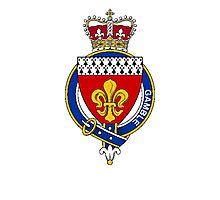 Coat of arms (family crest) for last-name or surname Gamble (England) . Heraldry banner for your name. Photographic Print