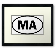 Massachusetts - MA - oval sticker and more Framed Print