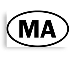 Massachusetts - MA - oval sticker and more Canvas Print