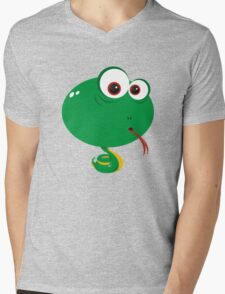 Cartoon Snake Mens V-Neck T-Shirt