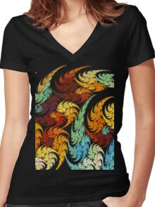 RAINBOW FLOWERS Women's Fitted V-Neck T-Shirt