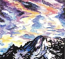 Space: Starry Mountain Scene Watercolour by noellesawatzky