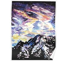 Space: Starry Mountain Scene Watercolour Poster