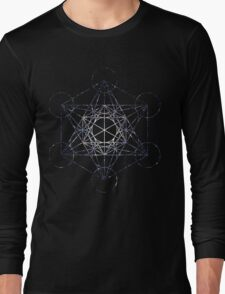 Metatron's Cube Star Cluster - Sacred Geometry Long Sleeve T-Shirt