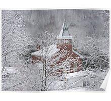 Beautiful Winter Church Gothic White Poster
