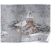 Beautiful Winter Church Gothic White Poster