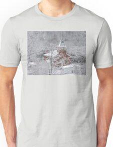 Beautiful Winter Church Gothic White Unisex T-Shirt