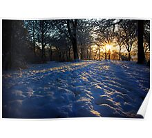 Sun setting over snow Poster