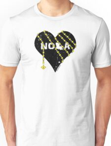 NOLA Heart Wrapped in Black and Gold Beads Unisex T-Shirt
