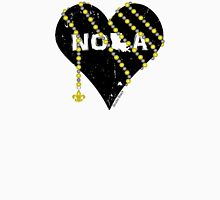 NOLA Heart Wrapped in Black and Gold Beads Women's Fitted V-Neck T-Shirt