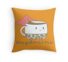 Supercino - your caffeinated hero Throw Pillow