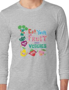 Eat your Fruit and Veggies - beige Long Sleeve T-Shirt
