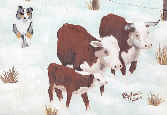 First Snow Greeting Card by Barbara Applegate