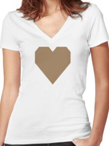 Pale Brown  Women's Fitted V-Neck T-Shirt