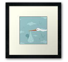 Stork and the kid Framed Print