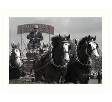 Clydesdales B&W Art Print