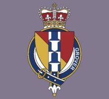 Coat of arms (family crest) for last-name or surname Grover (England) . Heraldry banner for your name. Kids Clothes