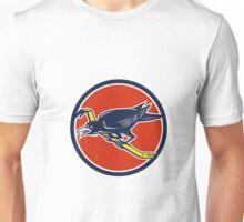 Crow Perching Crowbar Circle Retro Unisex T-Shirt