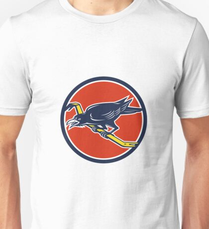 Crow Perching Crowbar Circle Retro Unisex T-Shirt