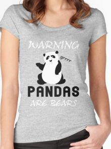 Warning Pandas Are Bears Women's Fitted Scoop T-Shirt
