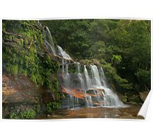 Katoomba Falls .. with green & orange Poster