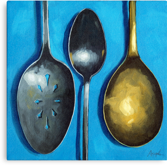 Spoonin' Around - kitchen art utensils by LindaAppleArt