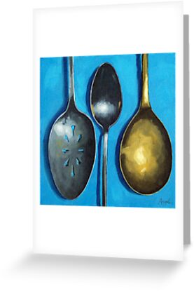 Spoonin' Around - kitchen art utensils by LindaAppleArt