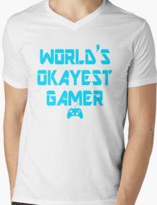 World's Okayest Gamer Funny Gaming Mens V-Neck T-Shirt