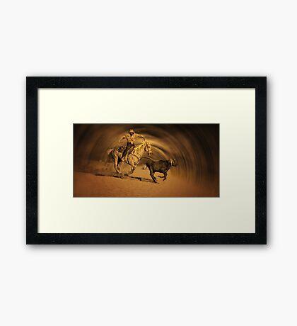 Roping a Steer Framed Print