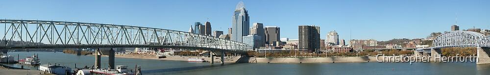 Cincinnati Skyline and Bridges (Panoramic) by Christopher Herrfurth